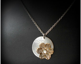 Coin and Filigree Flower Pendant