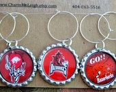 Arkansas Razorbacks inspired wine glass charms for the wine lover in your life....