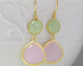 Pink and Mint Green Dangle Earrings in Gold-Wedding Earrings-Bridesmaid Earrings-Drop Earrings-Pink Wedding-Mint Bridesmaid Gift
