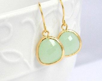 Mint Green Dangle Earrings in Gold, Bridal, Wedding, Dangle Earrings, Drop Earrings, Bridesmaid Earrings, Wedding Jewelry