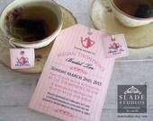Bridal Tea invitations. High Tea traditional tea bag tags and invitation printable.