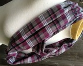 Infinity / Loop Scarf - Purple, Black, and Gray Flannel Plaid Scarf