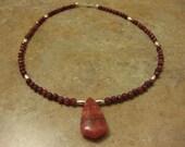 rhodochrosite necklace, rhodochrosite jewelry, faceted rhodochrosite, pink stone, pink  necklace, pink stone jewelry, 925 sterling necklace