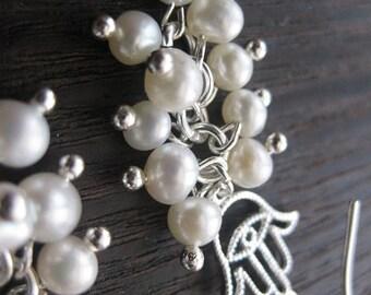 wedding jewelry, wedding earrings, hamsa earrings, hamsa eye earrings,Jewish jewelry, evil eye earrings, pearl jewelry, pearl earrings