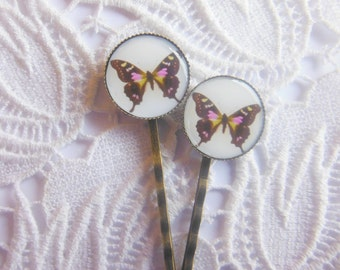 Brown And Pink Butterfly Hair Clips Bobby Pins