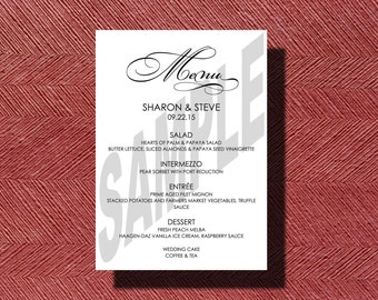 Custom Designed Wedding Reception Dinner Menu