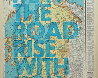 Canada  / May The Road Rise With You/ Letterpress Print on Antique Atlas Page