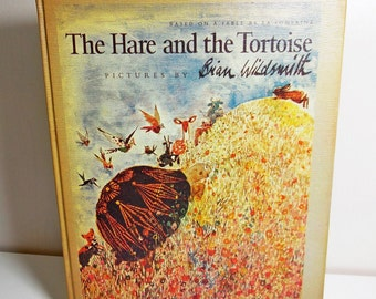 The Hare and the Tortoise - Brian Wildsmith - 1967 - First Edition Vintage Illustrated Book based on Aesop's Fables