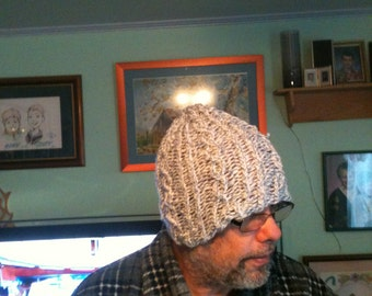 knitted cabled mens or womens hat
