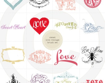 Sweet Love Valentine Photoshop Brushes & PNG clip art - for personal - photography or small commercial use