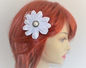 READY TO SHIP, White Flower with pearls, Flower girl flower, Bridal white flower, chiffon flower, Kanzashi flower,Japanese style flower