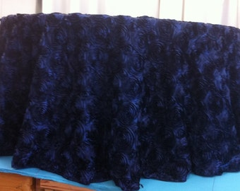 Custom Made Navy Blue  Rosette Tabelcloth 120 inches Round