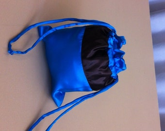 Custom Made Money Bag Dollar Dance Cobalt Blue with Chocolate Brown Accent