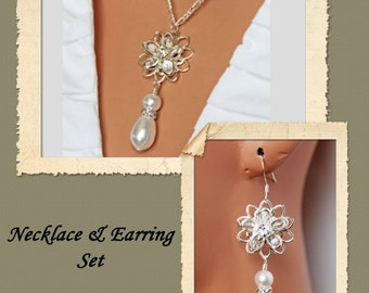 Crystal Pearl Drop Wedding Jewelry Set, Pearl Drop Pendant Earrings Bridal Jewelry Set, Bridesmaids Jewelry Set