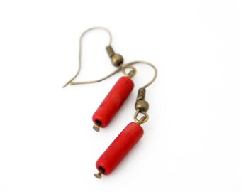 Natural Red Turquoise Column Stone Bead Dangle Earrings - SBE01