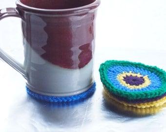 Spring Circles, Crocheted Coaster Set of 4
