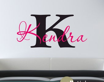 Wall Decal: Girls Personalized Name Monogram College Dorm, Bedroom, Elegant Script  Removable Vinyl Wall Art Wall Decor Sticker Decal-WD0195