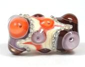 Large Violet, Orange and Brown Lampwork Focal Glass Bead
