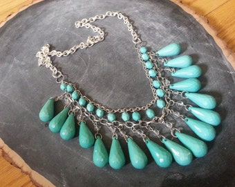 Falling Turquoise Tear Drop Necklace