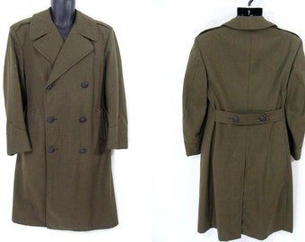 SALE was 139.95 Army Coat. vintage Wool Military Army Overcoat Serge Olive Green Long Dress Coat mens 36 S