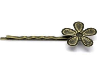 Bronze 5 petal bobby pin {supply}