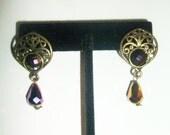 MHYO Upcycled Earrings Gold toned Filigree Multicolored Swarovski Crystal Tear Drops Holiday Gift Handmade