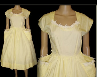 Vintage 1950s Dress . New Look Full Skirt YellowFemme Fatale Garden Party Mad Men Party Pinup Bombshell Rockabilly Wedding
