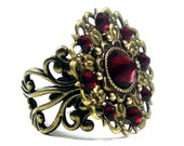 Steampunk Ring - Antique Brass & Siam Swarovski Rhinestone - Amelia's Star