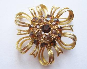 Lisner Brooch Smokey Topaz Rhinestones Bow Design Vintage Pin