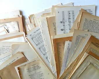 80 vintage book pages | vintage paper | paper ephemera | book pages for collage | paper supplies | junk journal supplies | vintage paper