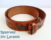 RESERVED EXCLUSIVELY for LARAMIE - Vintage Leather Belt with Colorful Desert Theme Handtooled 70s