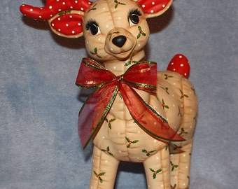 Jumbo Hand Painted Ceramic Christmas Reindeer Standing painted with a holly berry print to look stuffed