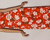 Vintage 1960s Hawaiian Dress. Maxi Dress. Aloha. Luau. Tiki. Cotton Bark Cloth.