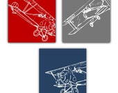 "Art prints for Boys // Nursery decor // Airplane art for Kids Room // Nursery art Boys // Baby Boy Nursery Decor // THREE-8x10"" aviation art"