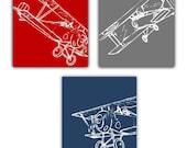 Airplane Art // Aviation Art // Airplane Nursery Decor // Airplane Decor for Kids Room // Baby Boy Nursery Decor // 3 PRINTS ONLY