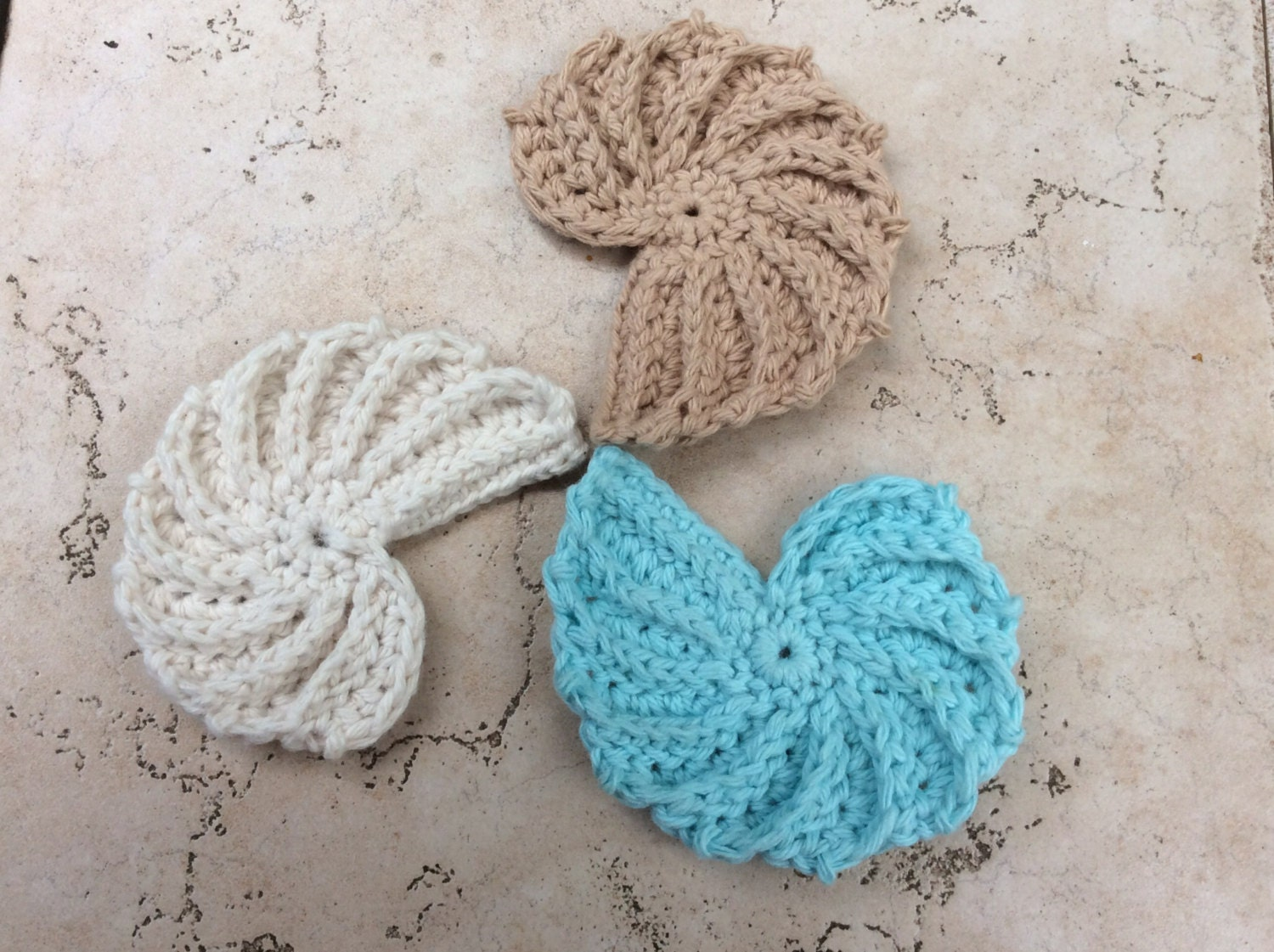 Seashell Knitting Pattern : CROCHET PATTERN seashell, PDF seashell pattern, coaster seashell, textured se...