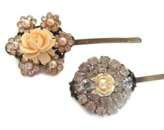 Shabby Chic Hairpins Wedding Clips Bridal Cream Rhinestone Hair Accessories Vintage Hairpiece Bobby Pin