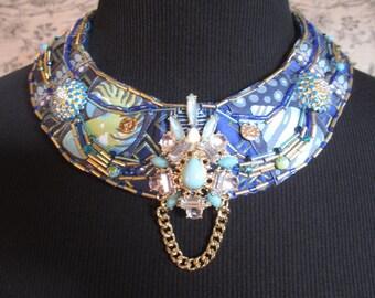 Bib Collar Statement Necklace Aqua Blue Gold Beaded