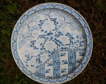 Vintage 1960s to 1970s Ming Blue and White Metal Tin Serving Tray Floral Trees Birds Flowers Round Shabby Chic