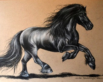 8x10 Charcoal Drawing Friesian Horse Print from the Original Number 1