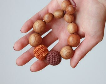 Baby Teething Ring in Brown & Gold - oak wood