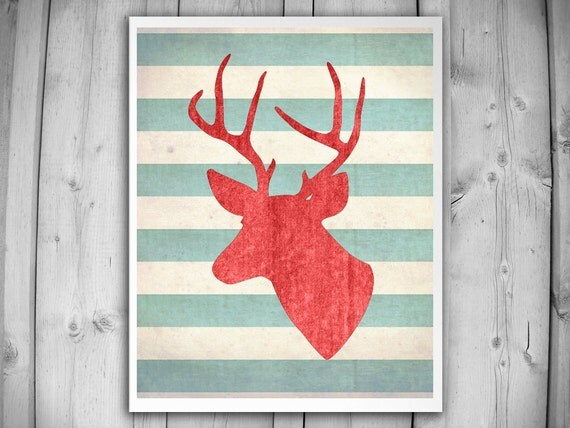 DEER WITH ANTLERS Art Print Modern Antler By TheNATIONALanthem