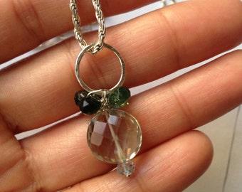 Green amethyst, Green apatite, Silver Sky blue topaz, Flower Pendant, Something blue, Wedding, Jewelry, Lilyb444