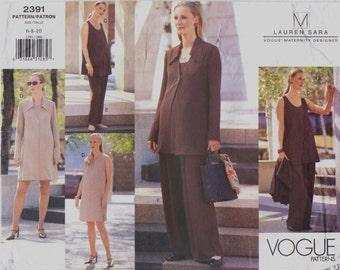 Lauren Sara Vogue Maternity Sewing Pattern 2391 Womens Jacket, Dress, Top & Pants Size 6 8 10 Bust 30 1/2 to 32 1/2 UnCut