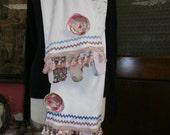 Fashion Statement Scarf,Cotton Knit Scarf,Embellished Scarf,Bohemian Scarf,Shabby Chic Scarf