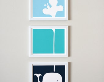 "Spouting Whale Nursery Art Prints (8x10"" Panels)"