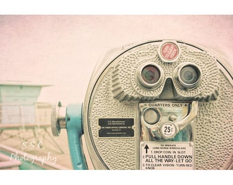 Vintage Photography. Santa Cruz. Beach. Lifeguard Tower. Viewfinder. Pink. Blue Gray. Summer. Travel photography. California art