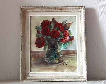 Romantic French Vintage Signed Water Color of Flowers Shabby Chic