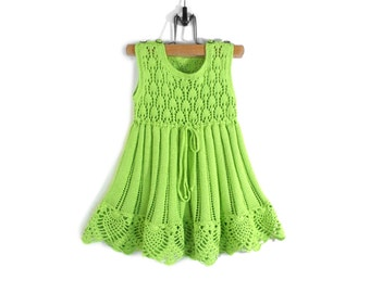 Knitted Baby Dress - Light Green, 12 - 18 months