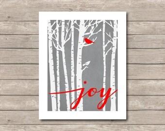 JOY Tree Printable, Chalkboard Art Print, Bird Birch Forest Christmas Art